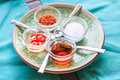 Thai condiment set which has vinegar sugar chilli and fish sauce it is called in kruang prung Stock Photography