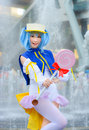 Thai cosplay star idol dress as a character from moetan bangkok thailand may in oishi world fantastic on may is Royalty Free Stock Photography