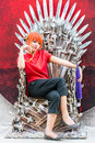 Thai cosplayer dresses as kagura from gintama in oishi world cos bangkok thailand may and poses sakata gintoki cosplay fantastic Royalty Free Stock Photo