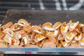 Thai crispy pancake cream crepes and gold egg yolks in thailand street market Stock Image