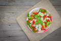 Thai cuisine spicy pork salad on wood background or yum moo yor Royalty Free Stock Images