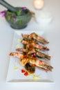 Thai cusine prawn with tamarind sauce. Royalty Free Stock Photo