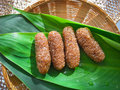 Thai dessert called kao tu or dried rice balls made from and coconut on leaf Stock Photography