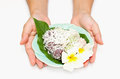 Thai dessert ,Grated Coconut Pudding Royalty Free Stock Photos