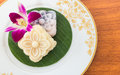 Thai Dessert Soft Cake with Orchid Flower Royalty Free Stock Photo