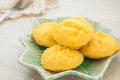 Thai dessert sugar palm cake on plate a Royalty Free Stock Photography