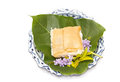 Thai dessert ,sweet egg on top sticky rice Royalty Free Stock Photography