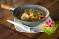 Thai dish with king prawns Royalty Free Stock Photos