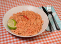 Thai dish of rice noodles and shrimp Royalty Free Stock Photography