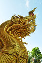 Thai dragon golden naga statue in temple Royalty Free Stock Images