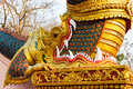 Thai dragon king golden naga statue Stock Photos