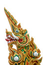 Thai dragon or king of Naga statue with foam Royalty Free Stock Image