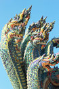 Thai dragon king of naga statue in temple thailand Royalty Free Stock Photography