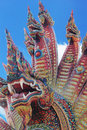 Thai dragon king of naga statue in temple thailand Stock Photography