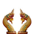 Thai dragon king of naga statue with two heads in thailand Stock Photo