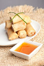 Thai egg rolls plate of spring appetizer with garnish Stock Photos