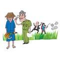 Thai farmer inspected by officer cartoon