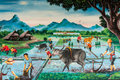 Thai farmer village art on the wall in temple Royalty Free Stock Photography