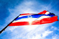 Thai flag with blue sky on Stock Photos