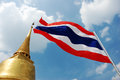Thai flag and the pagoda Stock Photography