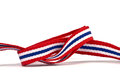 Thai flag ribbon pattern on white background and blank area Stock Photos