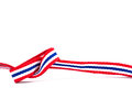 Thai flag ribbon pattern on white background and blank area Stock Image