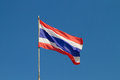 Thai flag with very bright blue sky Stock Photos
