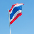 Thai flag waving national with blue sky background Royalty Free Stock Photos