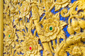 Thai flower pattern emboss woodcraft. Royalty Free Stock Photo