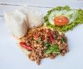 Thai food basil fried rice with pork Stock Image