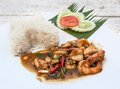 Thai food basil fried rice with prawn Royalty Free Stock Image
