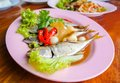 Thai food fish steamed sweet sauce mackerel tuna Royalty Free Stock Photos