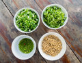 Thai food ingredient for porridge rice gruel in bowl Royalty Free Stock Image