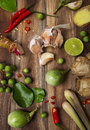 Thai food ingredients of spicy cuisine Stock Photography