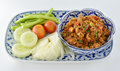 Thai food nam pik aoung chili sauce isolated on white background Royalty Free Stock Photography