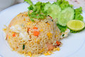 Thai food name seafood fried rice with shrimp and squid Stock Photo