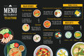 Thai food restaurant menu template flat design Royalty Free Stock Photo