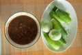 Thai food spicy sauce with vegetable top view of Royalty Free Stock Photography