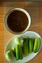 Thai food spicy sauce with vegetable top view of Royalty Free Stock Photos