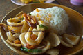 Thai food spicy squid curry and rice close up of Royalty Free Stock Photo