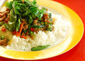 Thai food stir-fried beef with basil leaf Royalty Free Stock Photo