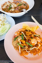 Thai food style stir fried rice noodles pad thai Royalty Free Stock Photography