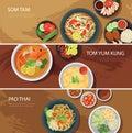 Thai food web banner flat design.som tam, tom yum kung,pad thai