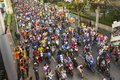 Thai football fans celebrate after winning AFF Suzuki Cup 2014. Royalty Free Stock Photo