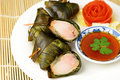 Thai fried chicken in pandanus leaves Royalty Free Stock Photo