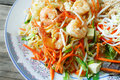 Thai fried noodles delicious rice noodles with shrimp close up on a shrimp thai food pad thai appetizer asia asian bean chinese Royalty Free Stock Images