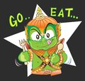 Thai Giant cartoon tell you want to go eat he has fork and spoon Royalty Free Stock Photo