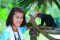 Thai girl with bearcat the image of tourist cute Royalty Free Stock Image