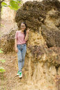 Thai girl at kew sue ten in doi lo chiangmai grand canyon national park thailand Royalty Free Stock Photo