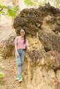 Thai girl at kew sue ten in doi lo chiangmai grand canyon national park thailand Stock Images